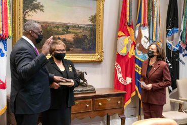 Vice President Kamala Harris delivers ceremonial oath of office to Defense Secretary